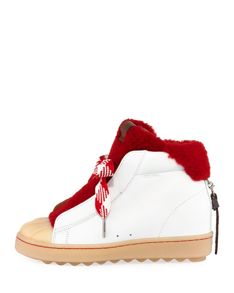 Colorblock High-Top Platform Sneakers with Fur