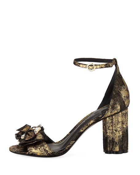 Argenta Metallic Jacquard Bow City Sandal, Black/Gold