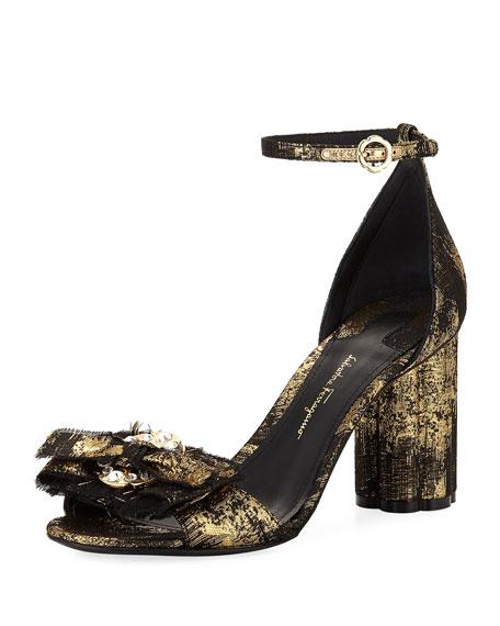 Salvatore Ferragamo Metallic Jacquard Bow City Sandal, Black/Gold