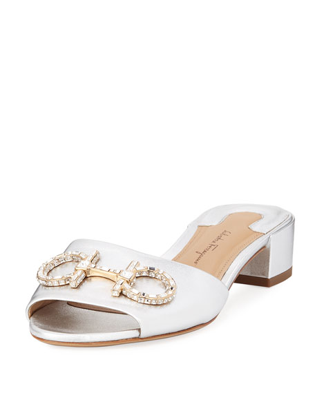 Salvatore Ferragamo Crystal-Embellished Gancini Slide Sandal, Silver