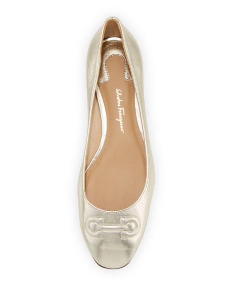 Broni Metallic Ballerina Flat with Embossed Gancini Bit, Sahara/Platino