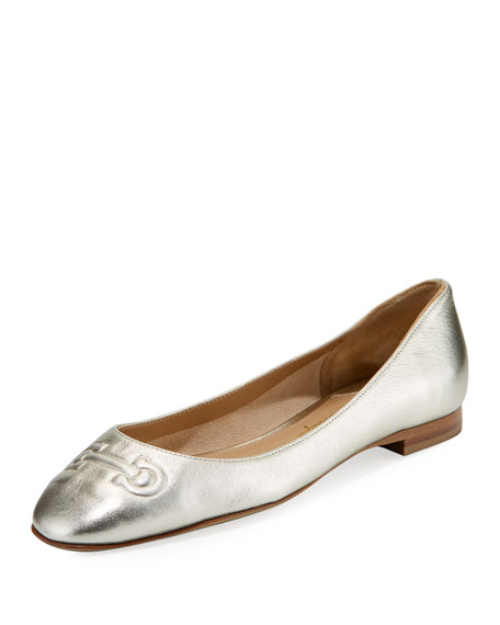 Salvatore Ferragamo Broni Metallic Ballerina Flat with Embossed