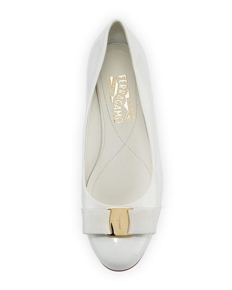 Varina Patent Vara Bow Ballet Flat, New Bianco