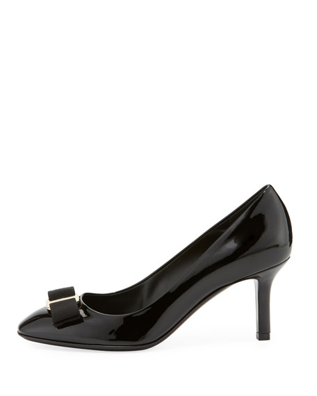 """Erice"" Patent Vara Bow 70mm Pump, Nero"