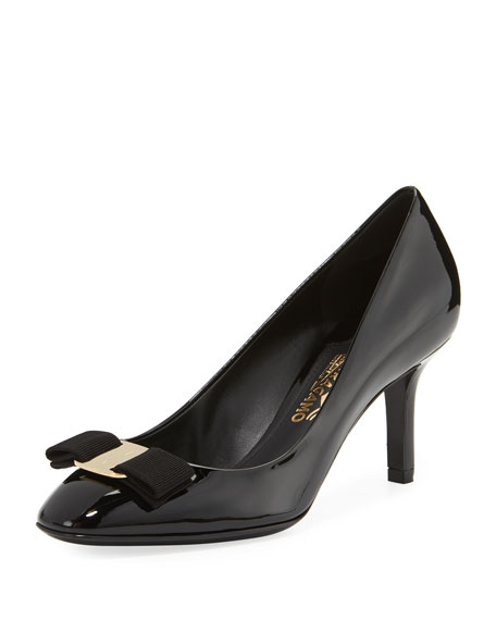 Salvatore Ferragamo Patent Vara Bow 70mm Pump, Nero