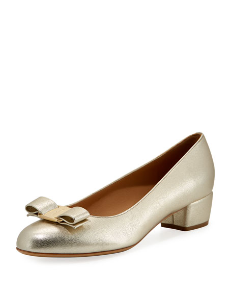 Salvatore Ferragamo Metallic Vara Bow 30mm Pump, Sahara