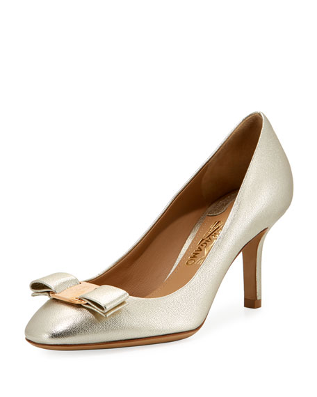 Salvatore Ferragamo Metallic Napa Vara Bow 70mm Pump,