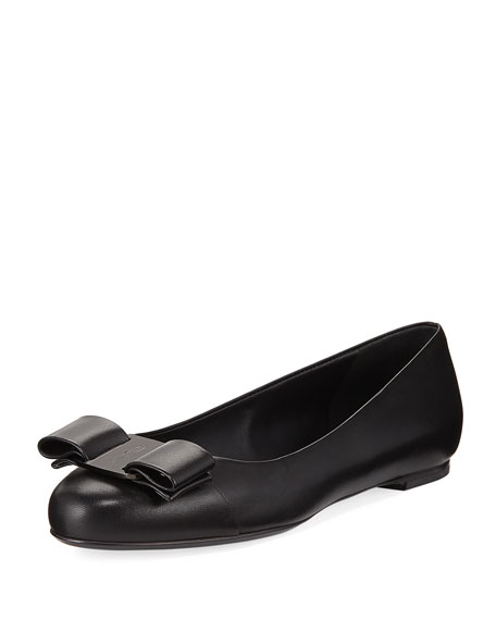 Smooth Leather Ballerina Flat with Vara Bow, Nero