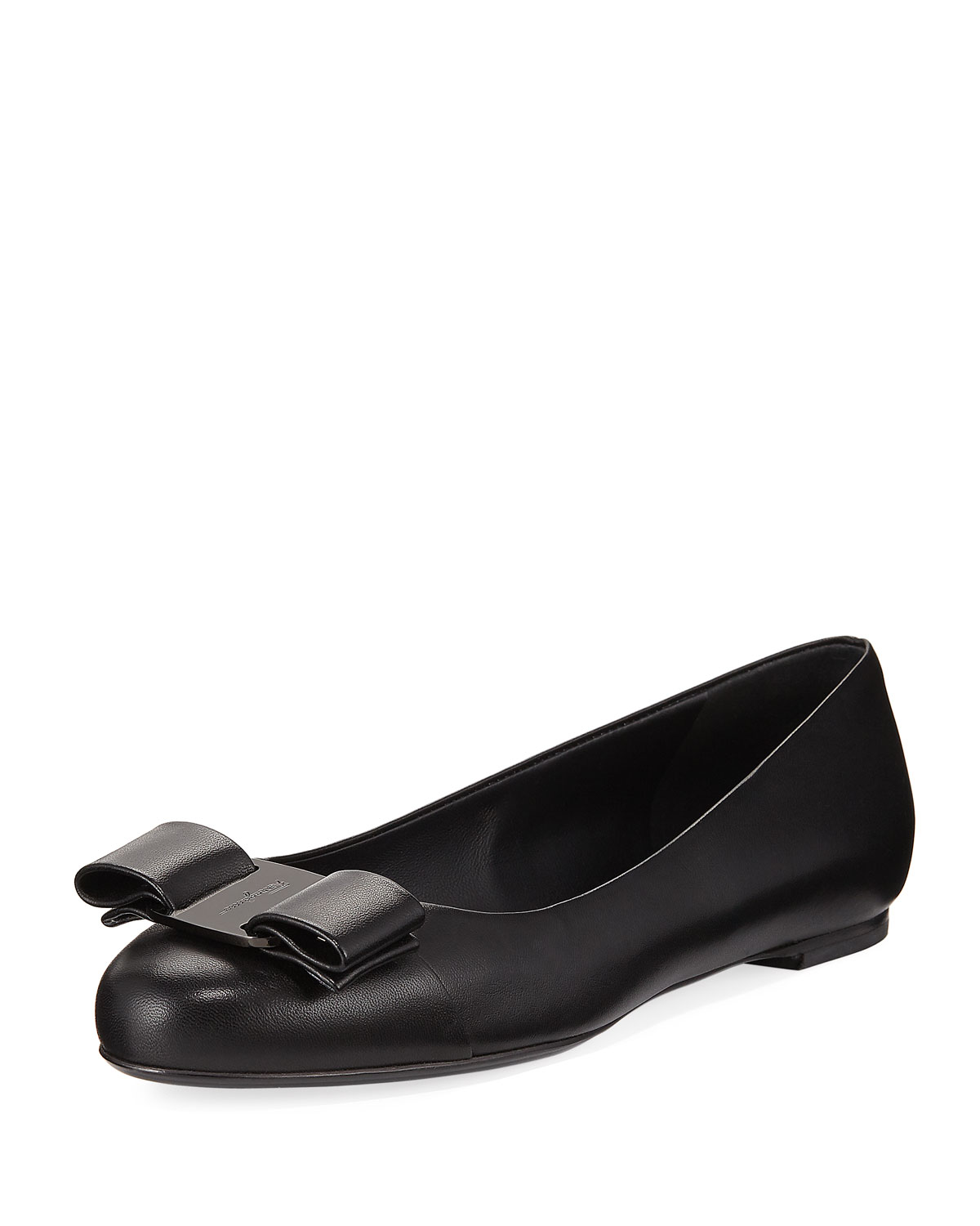 a8fe801aa02d7 Salvatore Ferragamo Varina Smooth Leather Ballet Flats with Vara Bow ...