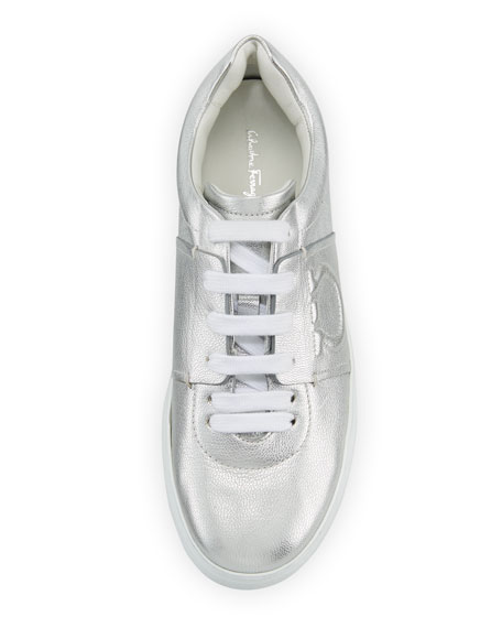 Fasano Metallic Platform Sneakers with Embossed Gancio Logo, Argento