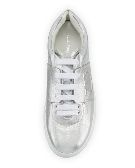 Metallic Platform Sneaker with Embossed Gancio Logo, Argento