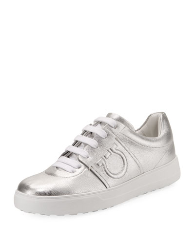 Metallic Platform Sneaker with Embossed Gancio Logo, Argento