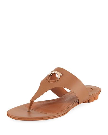 Salvatore Ferragamo Flat Calfskin Thong Sandal, Sella Camel