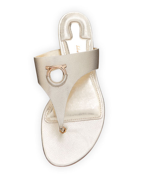 Enfola Flat Metallic Leather Thong Sandals, Sahara