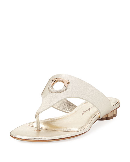 Salvatore Ferragamo Enfola Flat Metallic Leather Thong Sandals,
