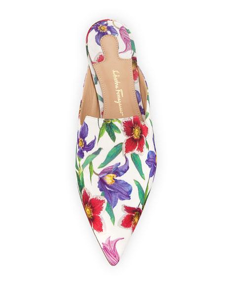 Floral Grosgrain Slide Mule, Stampa White