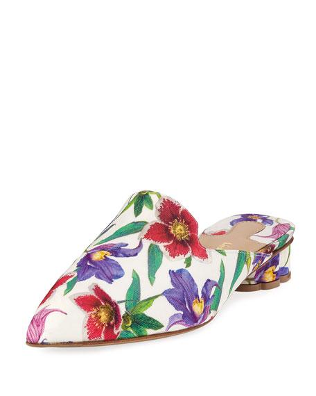 Maida Floral Grosgrain Slide Mule, Stampa White