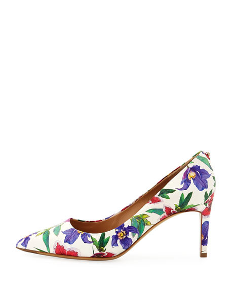 70mm Floral-Print Leather Pump, White/Multi