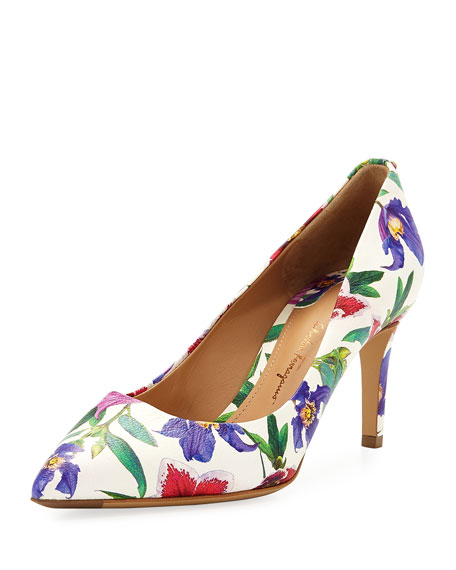 Salvatore Ferragamo 70mm Floral-Print Leather Pump, White/Multi