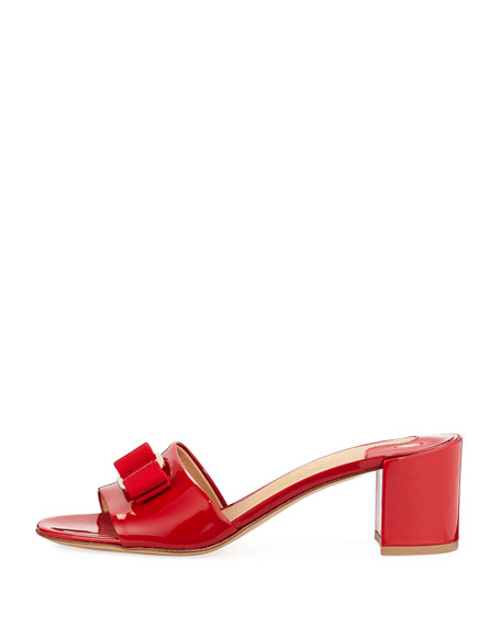 Patent Block-Heel Slide Sandal, Lipstick