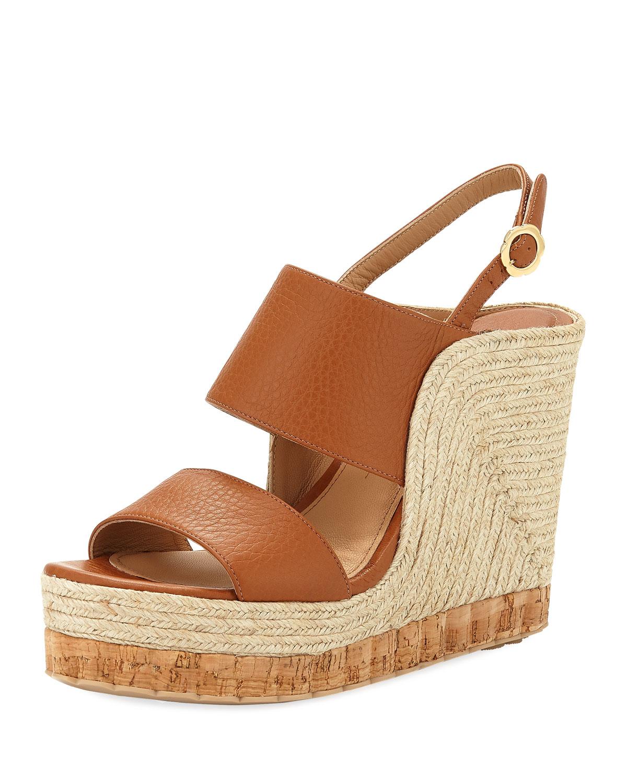afea8041d3f Salvatore Ferragamo Maratea Leather Wedge Espadrille Sandal