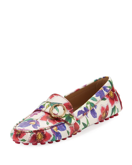 Cento Floral-Print Leather Driver, White/Multi