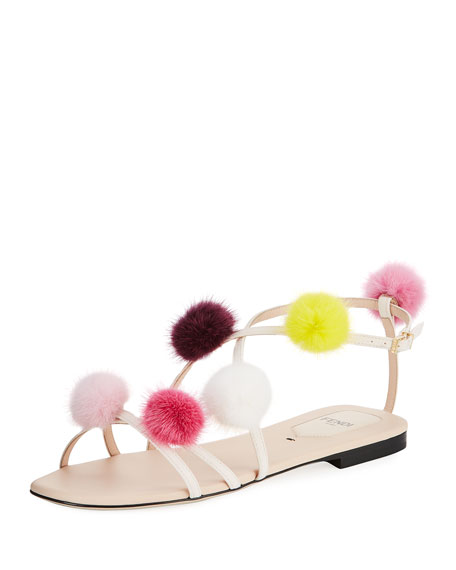 Fur Pompom Flat Leather Sandal
