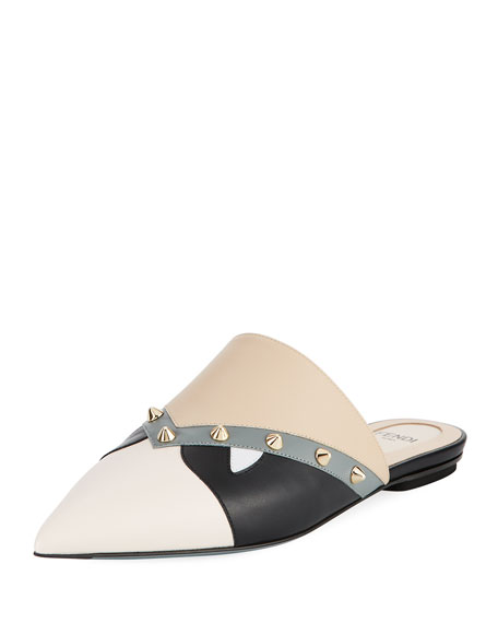 Fendi Bugs Faces Leather Flat Mule, Black