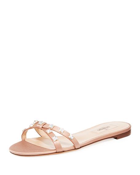 Rockstud Glam Flat Crystal-Stud Satin Slide Sandal