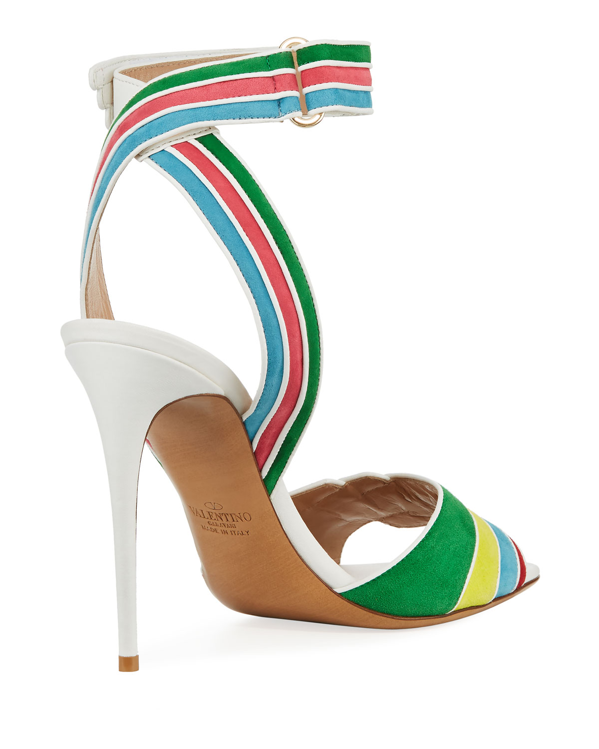 Rainbow Sandals with Ankle Strap in Multi Suede and Nappa Leathers Valentino sS4XeS