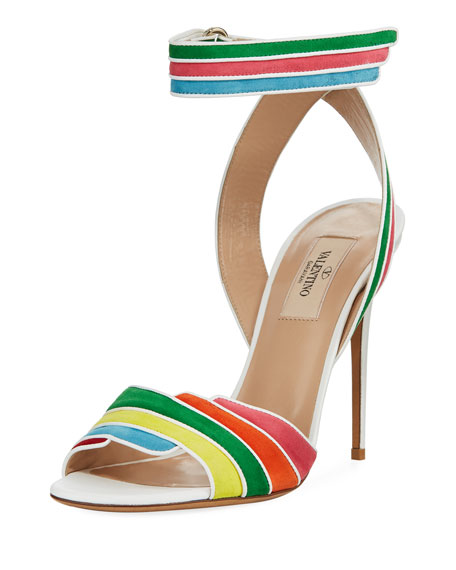 Valentino Garavani Rainbow Ankle-Wrap High Sandals, Multi