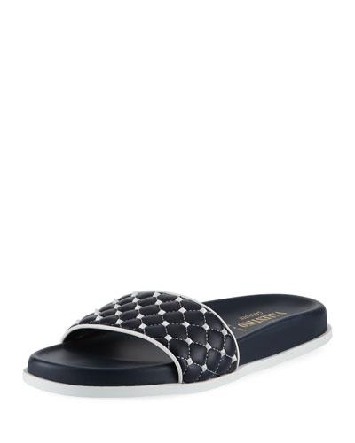 Rockstud Quilted Pool Slide Sandal