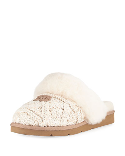 Cozy Cable Knit Slide Slipper, Ecru