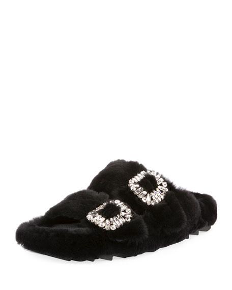 Roger Vivier Viv Slidy Flat Fur Sandal