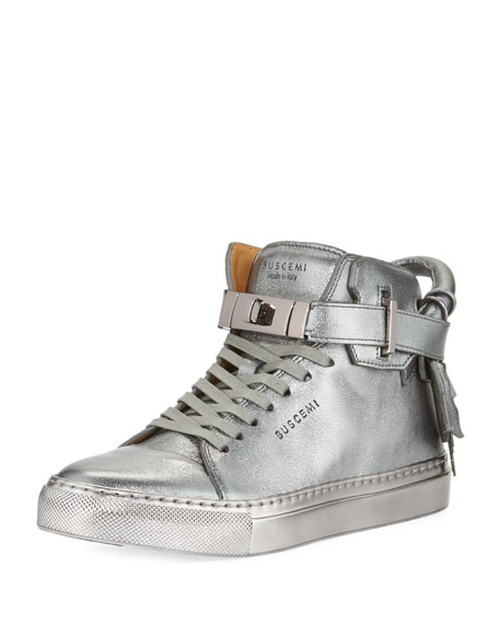 Buscemi 100mm Metallic Lace-Up High-Top Sneaker