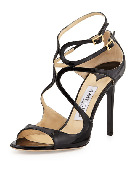Jimmy Choo Lang 100mm Patent Strappy Sandal