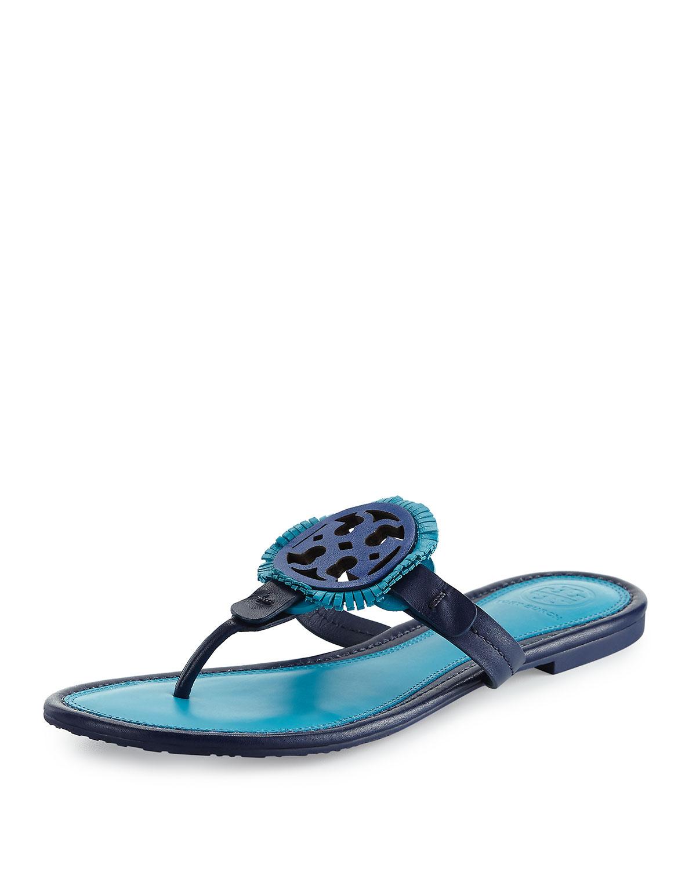 5f13ee74c2cd7 Tory Burch Miller Fringe Flat Leather Logo Sandal