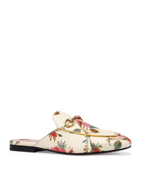 Gucci Princetown Floral-Print Flat Mule Loafer