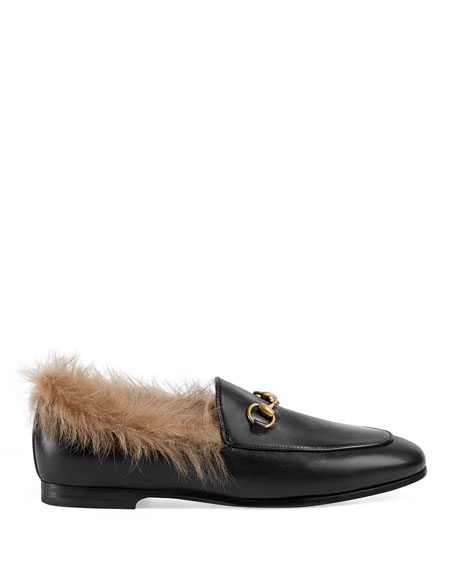 Fur-Lined Leather Loafer Flat