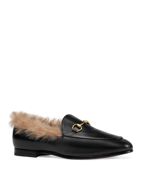 Gucci Jordaan Fur-Lined Leather Loafer Flat