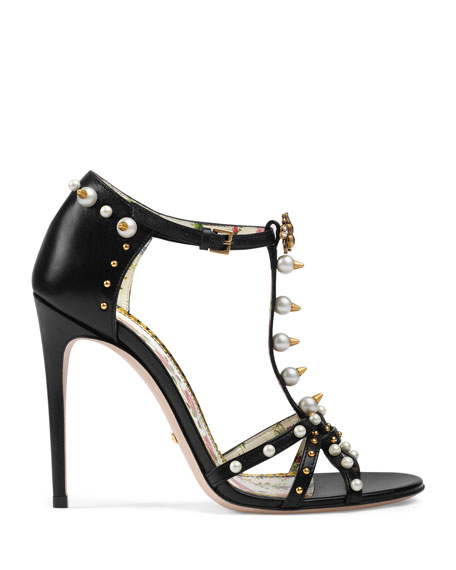 Studded Leather T-Strap Sandals