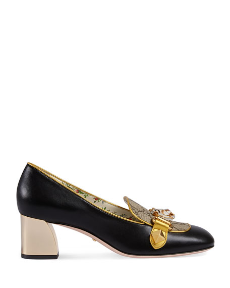 55mm Cheryl Leather GG Pump With Tiger Bit