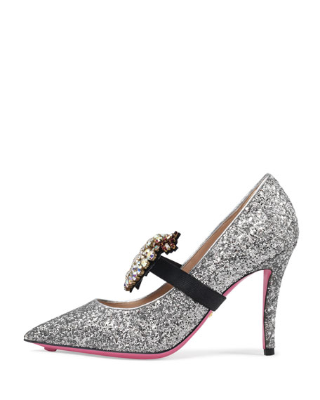 95mm Virginia Glitter Pump with Crystal Heart