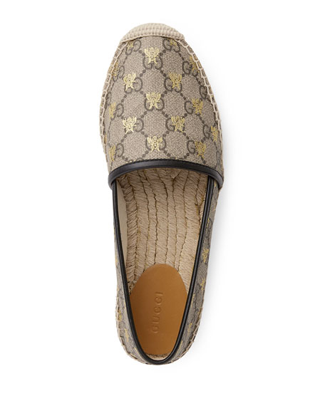Flat Pilar GG Espadrille With Bees