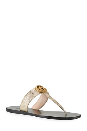 Gucci Flat Marmont Metallic Leather Thong