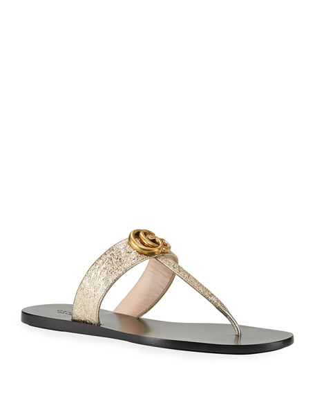 Metallic Leather Flat Thong Sandals