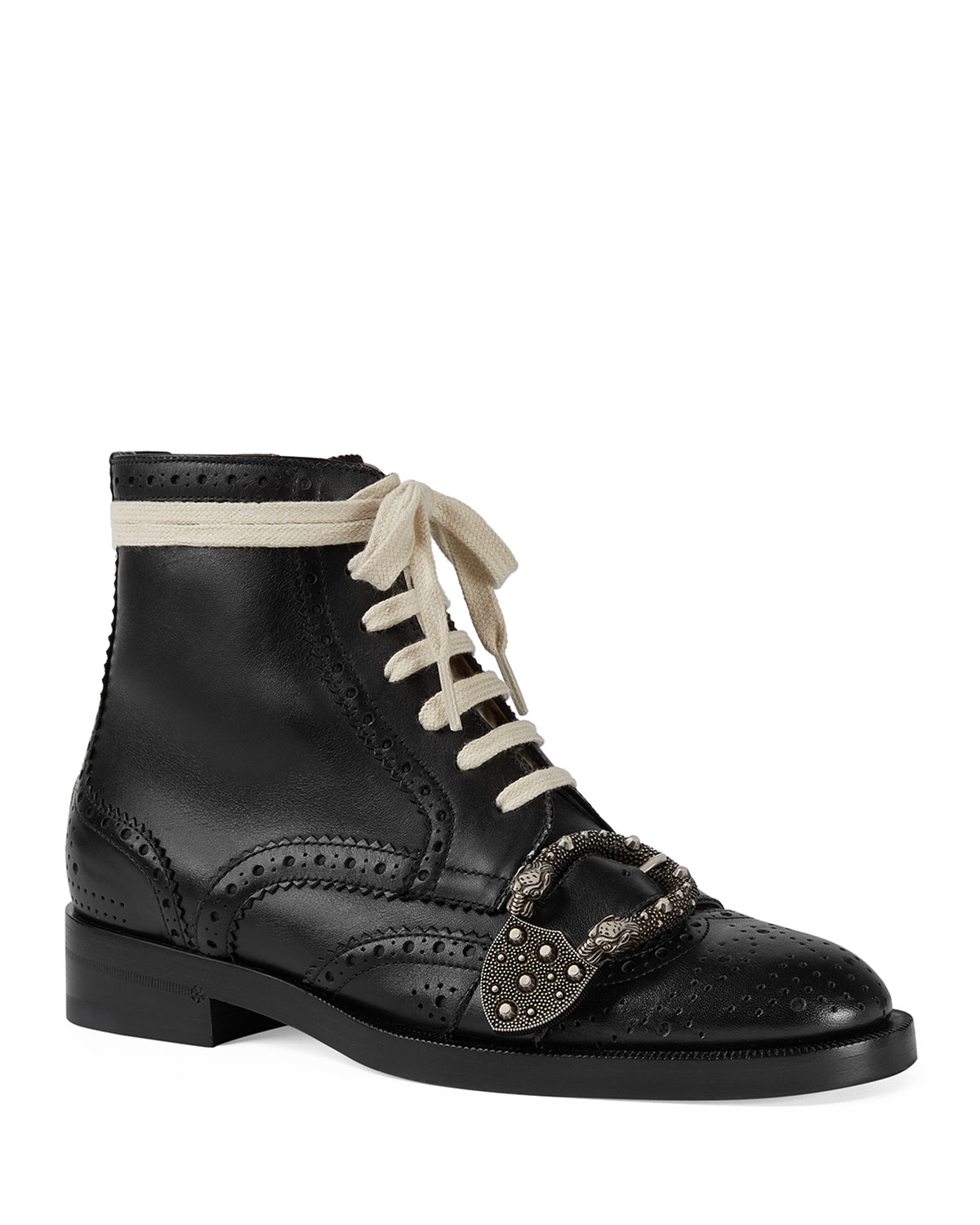 64438c53a3d9a6 Gucci Flat Queercore Lace-Up Leather Boots