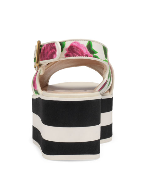 Peggy Rose-Print Platform Sandal