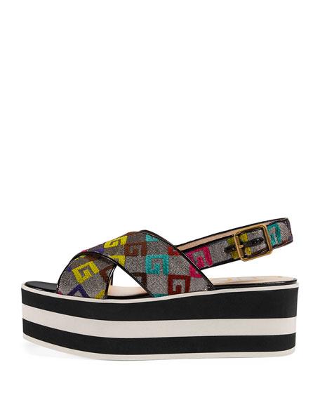 GG-Embroidered Platform Sandals