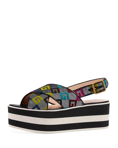 Peggy GG-Embroidered Platform Sandal